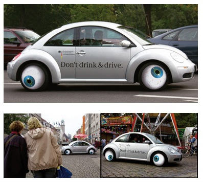 Marketing de rue ( Street marketing) Don't drink and drive!