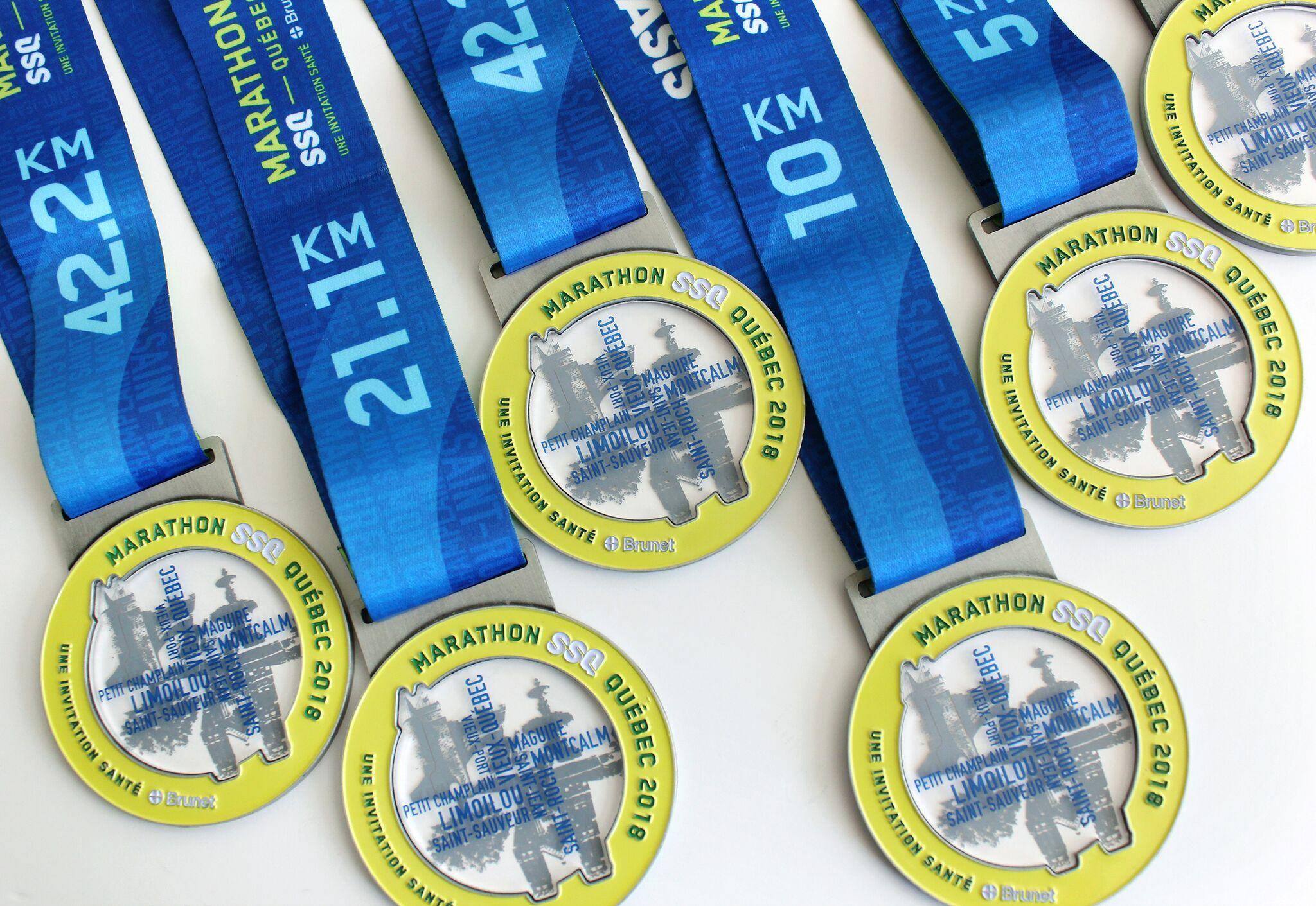 medailles médailles du marathon de québec